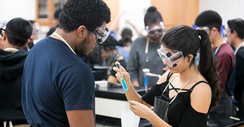 Hammond High School students in science class.