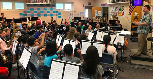 Middle school band practice group.