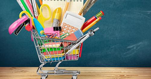 School supplies in shopping cart.