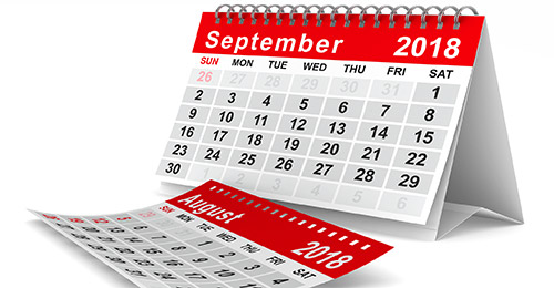 September 2018 calendar.