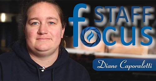 Profile headshot of Diane Caporaletti with staff focus logo in foreground.