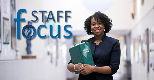 Dr. Cherise Hunter with Staff Focus logo in foreground.