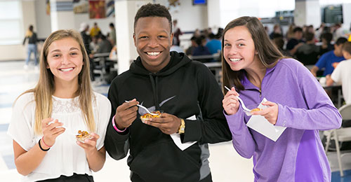 Group of students testing new food options for lunch.
