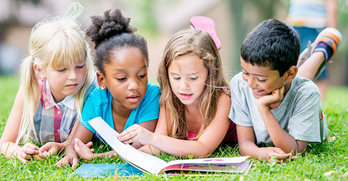 Students reading in a group.