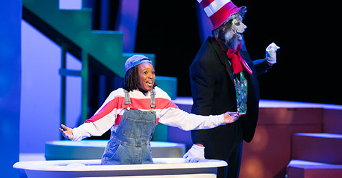 Two wilde lake high school students performing in seussical the musical.