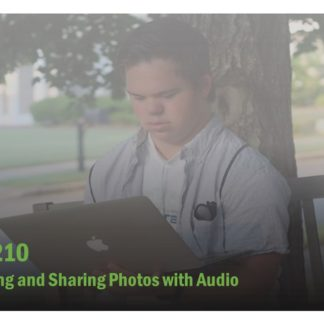 The course catalog image for FET 210 features a man holding a laptop sitting under a tree.