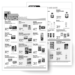 independent pharmacy in-store advertising shelf talkers, fliers, bag stuffers, and posters