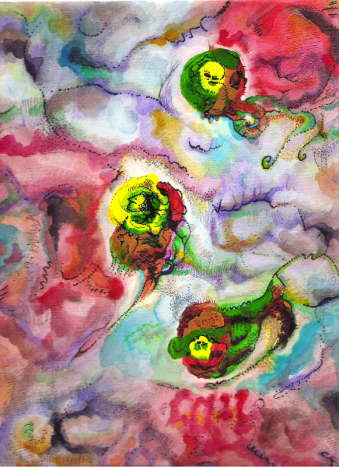 3 amoebas a painting by a person with autism - HeadStuff.org