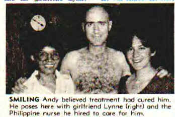 Andy Kaufman after cancer treatment, with Lynne Margulies and a nurse, he thought the treatment was successful - HeadStuff.org