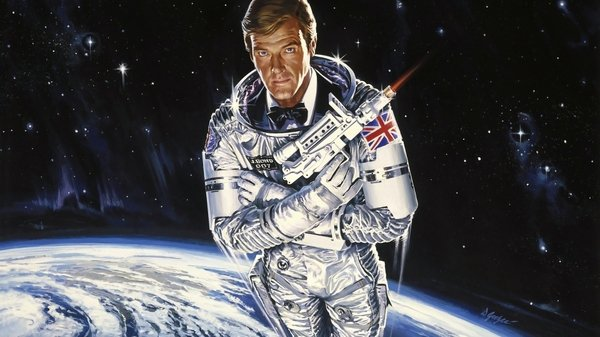 Roger Moore as James Bond in Moonraker, spy in space, outer space, spy satellite - HeadStuff.org