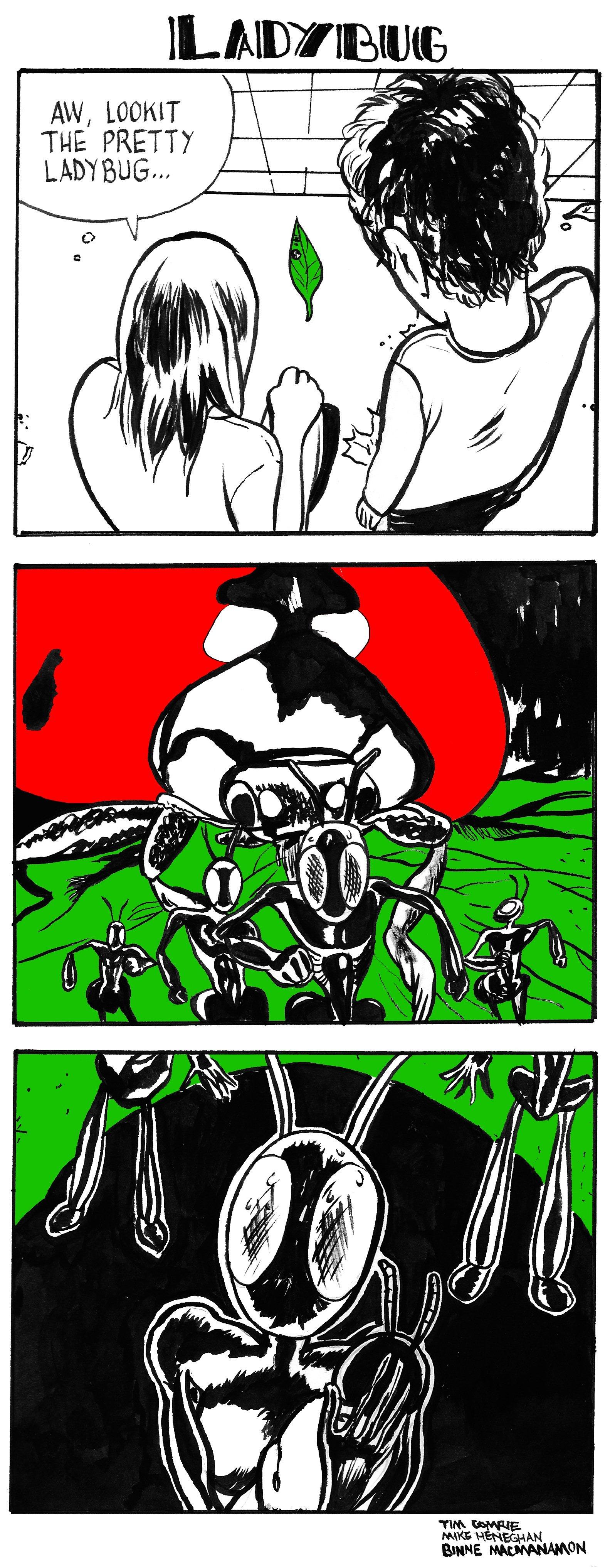 Five Hour Breakfast, Ladybug, Mike Heneghan, three box comic, humour - HeadStuff.org