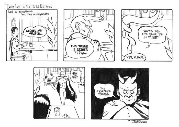 Five Hour Breakfast, Mike Heneghan, Hell, tiny annoyances, devil, comic, funny, one box comic - HeadStuff.org