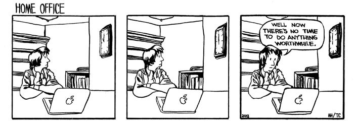 Five Hour Breakfast, three box comic, humour, procrastination, mike heneghan, funny, Home office - HeadStuff.org
