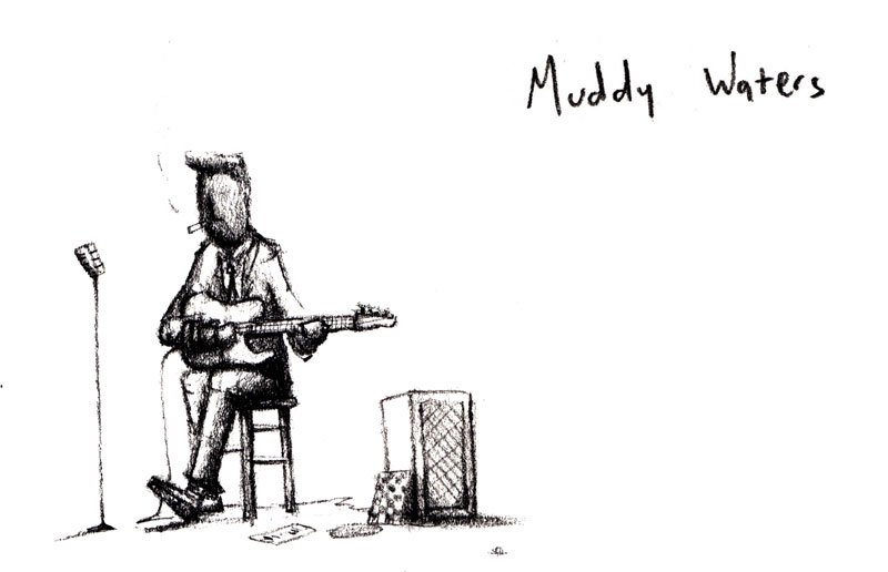 Muddy Waters, McKinley Morganfield, Blues, Blues Legend, drawing, illustration, art, artist, jacob stack, Muddy on his guitar - HeadStuff.org