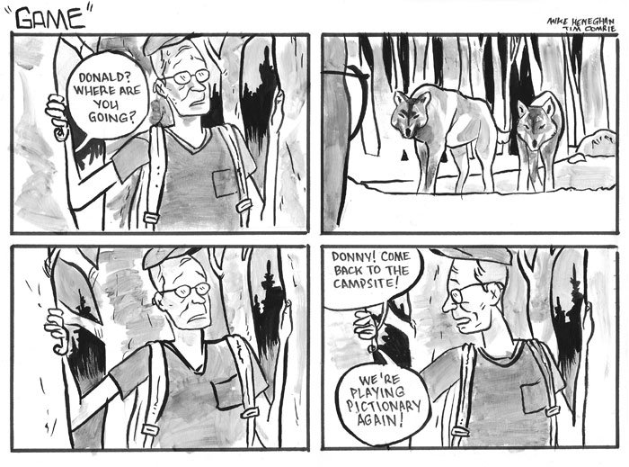 Five Hour Breakfast, comic strip, funny comics, dark, mike heneghan, Game, camping, wolves, funny, five box comic - HeadStuff.org