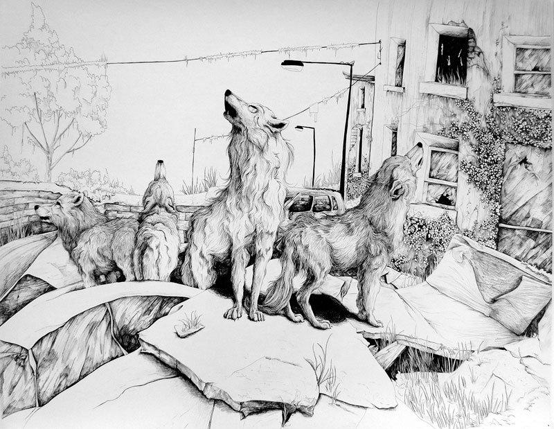 Helena Grimes, artist, illustrator, limerick school of art and design, printmaking, contemporary media, linear drawings, non-human form, LSAD, graduate - HeadStuff.org