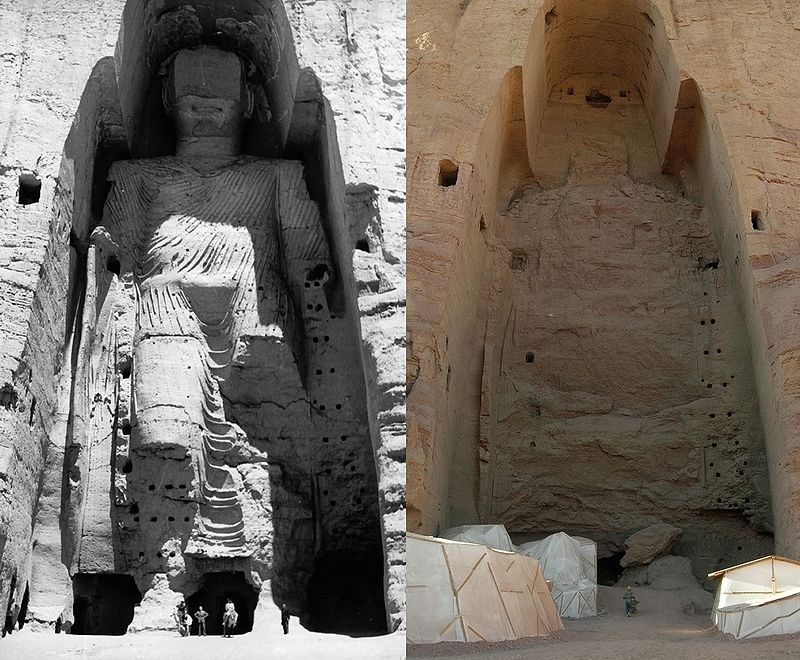 Bamiyan buddha, Hindu Kush mountain, Cultural heritage in peril, ancient victims of modern warfare in the middle east, israel, irag, afghanistan, syria, iran, palestine, jerusalem, ancient artifacts, destroyed, stolen, pillaged, religious extremism, buddha, muslim, islam, jewish - HeadStuff.org