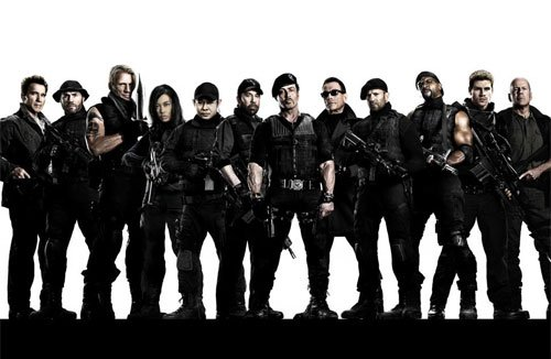 The Expendables 3, iconic 80s action stars, action movies, Sylvester Stallone, Arnold Schwarznegger, Harrison Ford, Wesley Snipes, Lundgren, Jet Li, Antonio Banderas, Terry Crewes, Chuck Norris, Jason Statham, powell, Mel Gibson, oritz, dave, ridiculous film, review, ged murray - HeadStuff.org