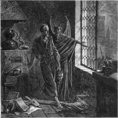 Gilles de Rais summoning devil, summons the devil, Illustration by Emile Bayard, Paul Christian's History of Magic, occult, magic, monster of Brittany, france, serial killer, murderer, historical, Prelati, alchemists, kidnapped a priest - HeadStuff.org