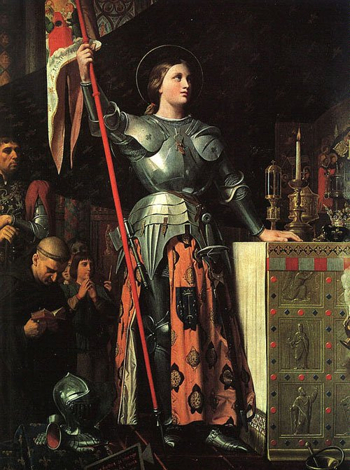 Joan of Arc, Joanne of Arc, portrait by Dominique Ingres, painting, Gilles de Rais, heretic, harlot, burned at the stake, charles vi, vii, french, history of france, 100 years war, orleans, brittany, dauphin - HeadStuff.org