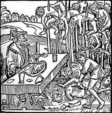 Vlad the impaler, Dracula, Vlad Tepes, the real, terrible people from history, the worst people in history, woodcut of dracula, impaled people, german, romanian - HeadStuff.org