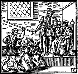 The witches before the king, from Newes From Scotland, James 1st, witch hunt, witchcraft, scotland and england, Berwick Trials, torture, anne of Denmark, gruesome - HeadStuff.org