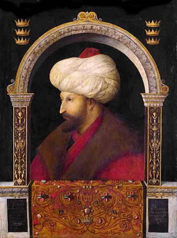 Mehmed II, possibly the greatest of the Ottoman Emperors. Painting from life by the Italian painter Gentile Bellini, dracula, enemy of romania, hungary, vlad the impaler, dracula, real story, war - HeadStuff.org
