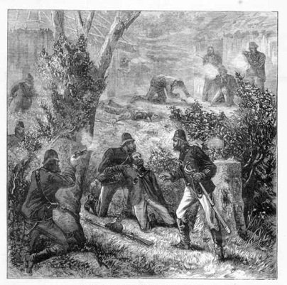 A contemporary newspaper illustration showing the end of the battle at McGlede's Hut, Andrew George Scott, james nesbitt, trial of, australia, new south wales, ned kelly, kelly gang, death of andrew george scott - HeadStuff.org