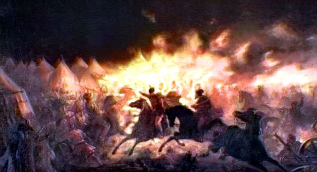 The Battle with Torches (depicting Vlad's night attack on the Turkish camp) by Theodor Aman, a 19th century Romanian artist considered to be one of the fathers of Impressionism, Dracula, Mehmed, Vlad Tepes, Vlad the Impaler, painting of war, ottoman empire - HeadStuff.org