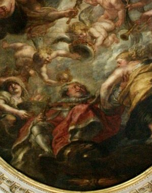 A painting by Rubens on the roof of the Banqueting House in Whitehall shows James being carried off to heaven, death of James I, charles I, spanish infanta, war, parliament, protestant, catholic, england, scotland, the gun powder plot, james stuart - HeadStuff.org