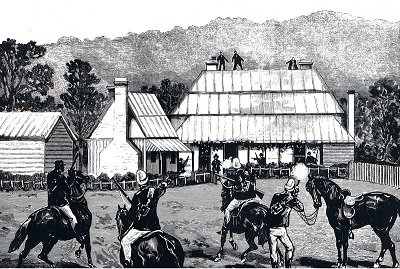 An enhanced photograph showing the siege of Wantabadgery station, Andrew George Scott, Moonliters, captain moonlite, ned kelly, the kelly gang, bail up, moonlite bail up police station, australia, new south wales - HeadStuff.org
