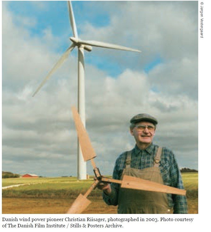 Danish wind pioneer Christian Riisager, 2003, danish film institute, windmill, wind turbine - HeadStuff.org