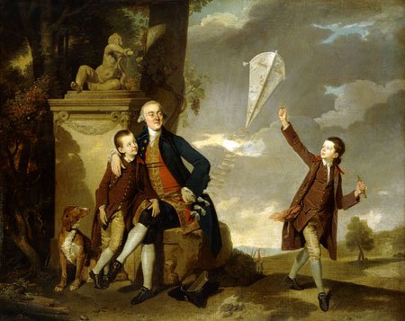 George senior, Charles Lionel and George Robert Fitzgerald in happier times. George Robert is the boy flying the kite - HeadStuff.org
