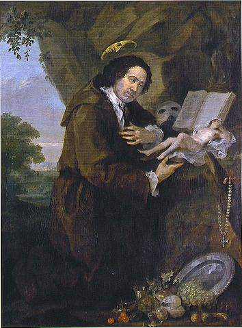 A portrait of Sir Francis Dashwood, painted by William Hogarth in a style parodying paintings of St Francis of Assisi. The face peering out of the halo is John Montagu, Hellfire clubs - HeadStuff.org