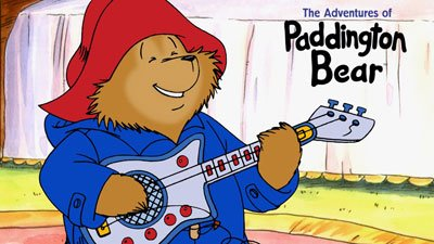 Paddington Bear, modern version, colour drawing, red hat, blue coat, paddington playing guitar, recent version, modern illustration, Michael Bond, lasting characters, books for all ages, british children's books, love paddington bear, british institution, books you never forget, books that stay with you, childhood books that stay with you - HeadStuff.org