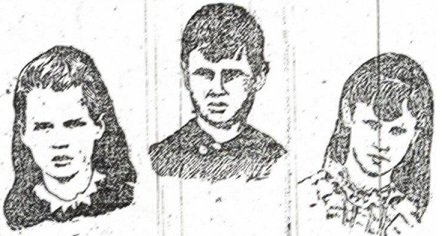 A newspaper composite of photographs of the three murdered Pitzel children. From left to right: Nellie, Howard and Alice - HeadStuff.org