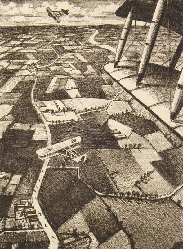 """Nevinson, Christopher Richard Wyne (1889 - 1946)    No. 40 """"In the air"""" [From 'The Great War: Britain's Efforts And Ideals shown in a series of lithographic prints: 'Building Aircraft' series]  Lithograph on paper  40 x 29.9 cm  Presented by the British Ministry of Information, Armistice Day, ww1 - HeadStuff.org"""