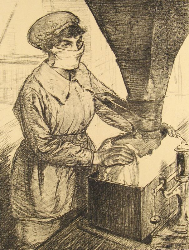 """Hartrick, Archibald Standish (1864 - 1950)  No. 59 """"On Munitions: Dangerous work (Packing T.N.T.)"""" [From 'The Great War: Britain's Efforts And Ideals shown in a series of lithographic prints: 'Women's Work' series]  Lithograph on paper  50.8 x 40.7 cm  Presented by the British Ministry of Information, world war one, women workers - HeadStuff.org"""