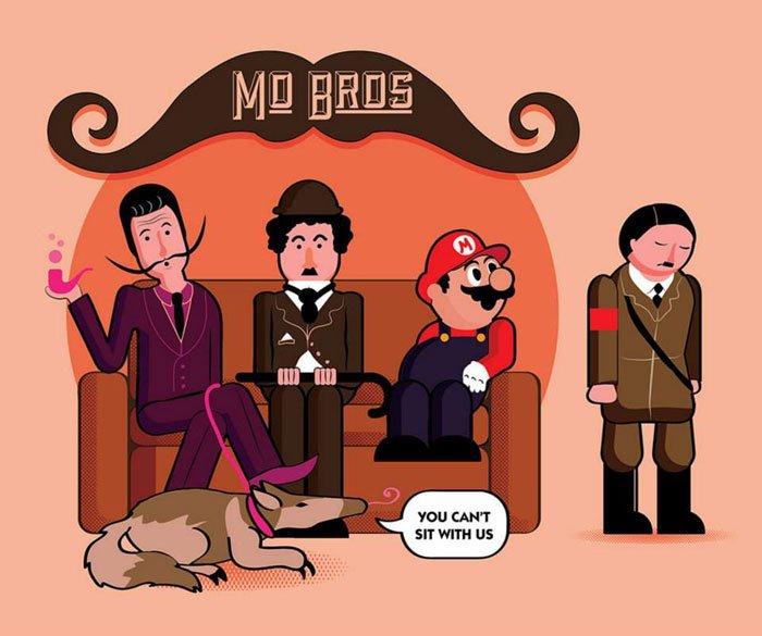 Sheen Flynn, Illustration, Mean Bros, Mo bros, moustaches, movember illustrations - HeadStuff.org