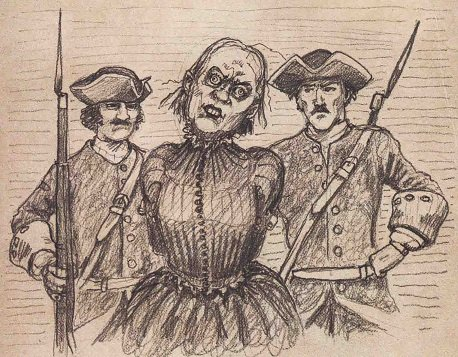 "Marie-Josephte Corriveau in custody, a somewhat unsympathetic illustration by Alexandre Girard for ""Créatures fantastiques du Québec"" - HeadStuff.org"