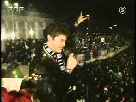 "David Hasslehoff visited the Berlin Wall on New Year's Eve, 1989, singing ""Looking for Freedom"" to the crowd - HeadStuff.org"
