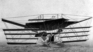 Hiram Maxim's plane. The multiple wings was needed to lift the immense weight of the engines, but they were inherently unstable, terrible inventors, evil - HeadStuff.org