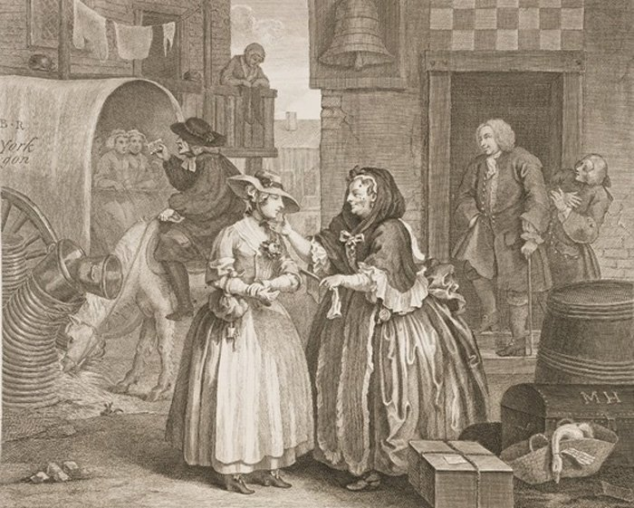"In the first plate of Hogarth's famous series ""The Harlot's Progress"", Francis Charteris appears in the doorway in the background, leering at the heroine - HeadStuff.org"