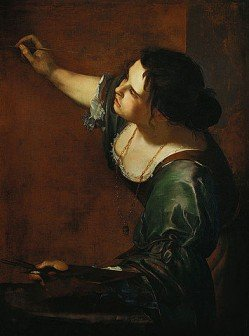 Renaissance painting of a woman in a green dress with dark hair using a paint brush - HeadStuff.org