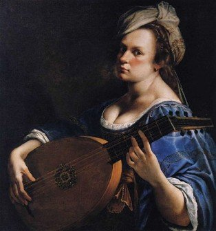 Renaissance painting of a woman (the artist, Artemisia Gentilischi) playing a lute - HeadStuff.org