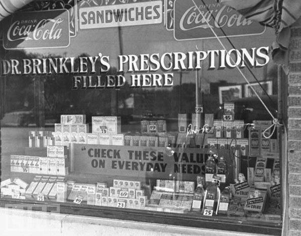 John R Brinkley shop front, prescriptions, quackery - HeadStuff.org
