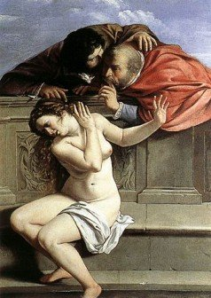 Renaissance painting of a Biblical scene, showing a young woman being harassed by two older men - HeadStuff.org