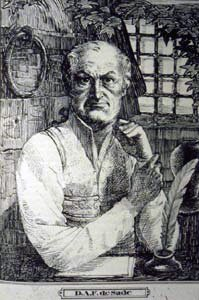 Line drawing of the Marquis de Sade as an old man - headstuff.org