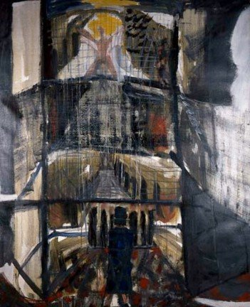 Brian Maguire,The Big House, 1988, Acrylic on canvas, 206 x 166 cm Purchased from donations given to the Hugh Lane Gallery Trust, 2005.