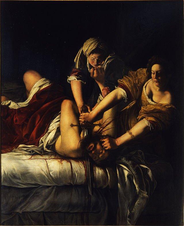 Judith Slaying Holofernes (1614–20) Oil on canvas 199 x 162 cm Galleria degli Uffizi, Florence-Headstuff.org